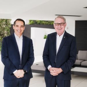 LeapFrog Investments CEO Andy Kuper (left) with new global leadership council member David Gonski.